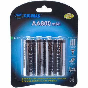 Digimax AA 800 mAh 1.2V Ni-MH Rechargeable Batteries